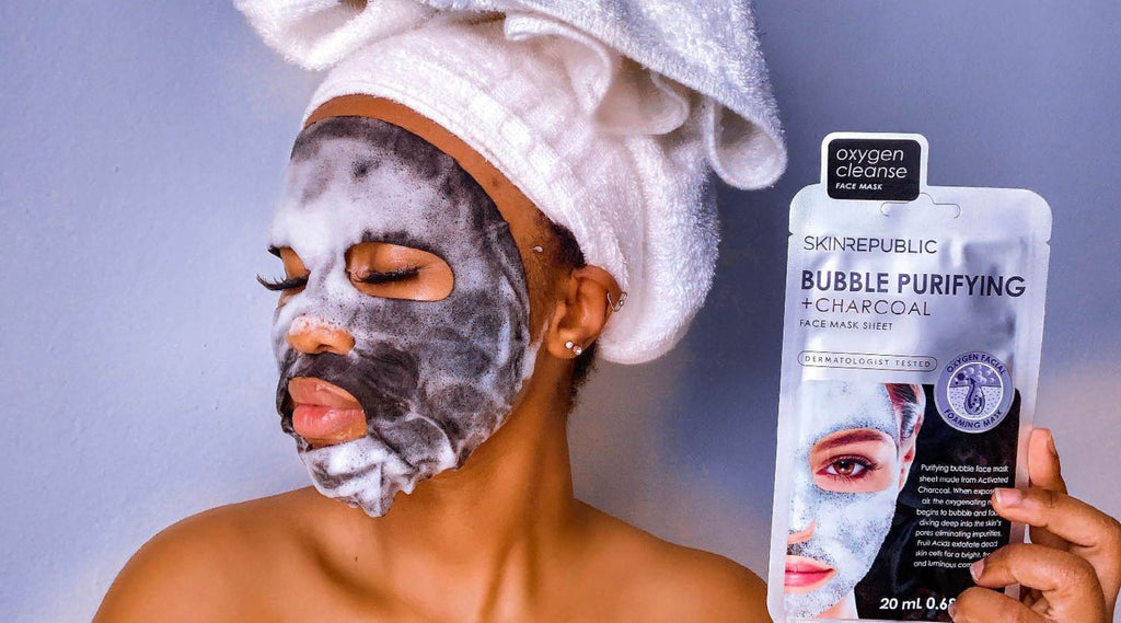 Skin Care Resolutions Blog - Skin Republic  - Bubble Purifying + Charcoal Face Mask Sheet