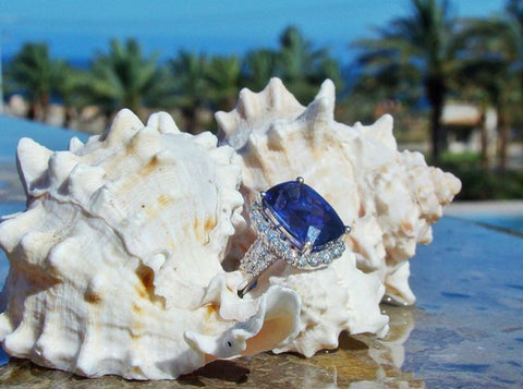 diamondsinternational_mexico instagram tanzanite ring white seashell