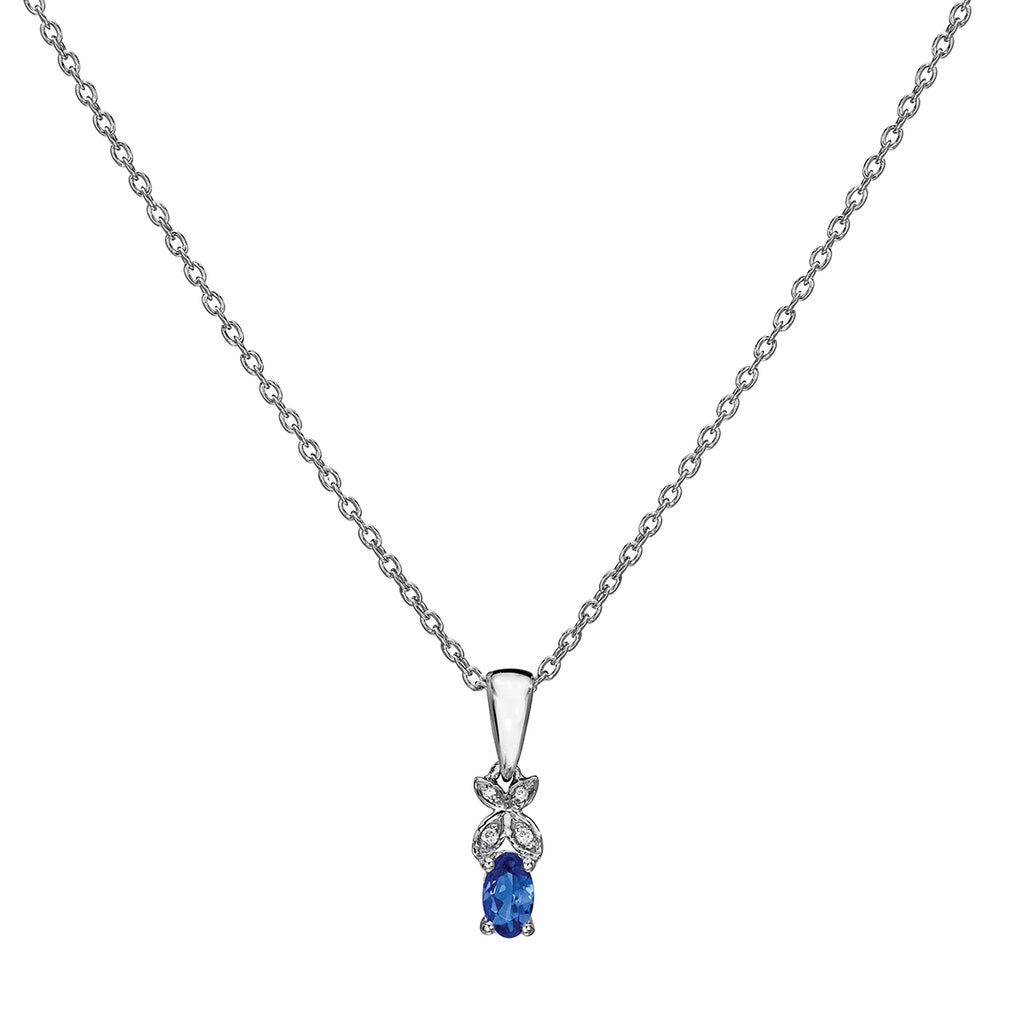 round cut tanzanite and diamond drop pendant sterling silver