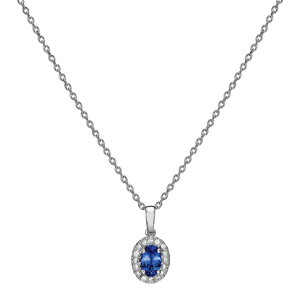 Tanzanite & Diamond Pendant in Sterling Silver (.58 ctw)
