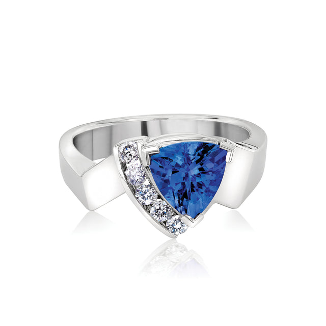 triangle cut tanzanite diamond ring sterling silver