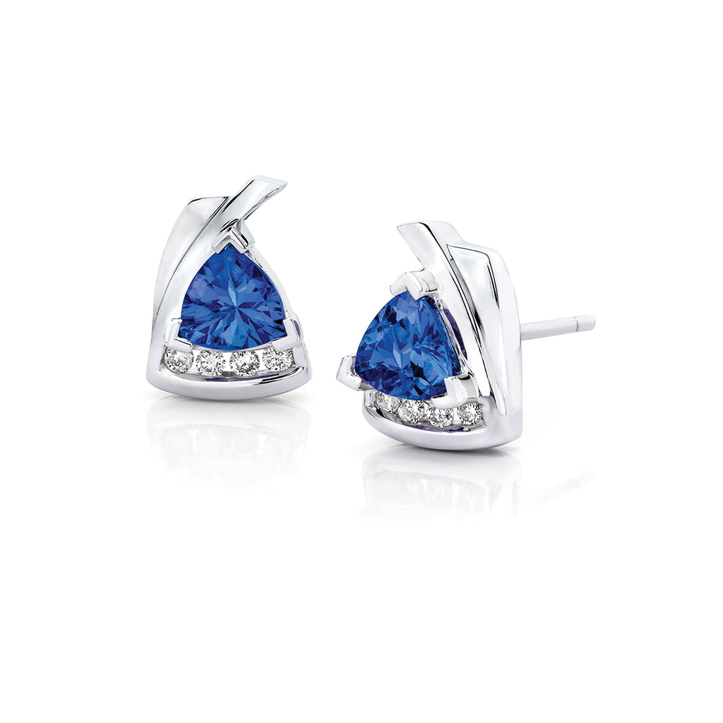 tanzanite diamond earrings sterling silver studs