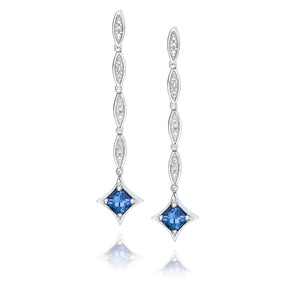 dangling day to night tanzanite earrings sterling silver