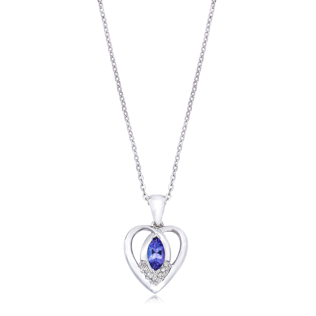 Safi Kilima Tanzanite & Diamond Heart Pendant in Sterling Silver (.40 ctw)