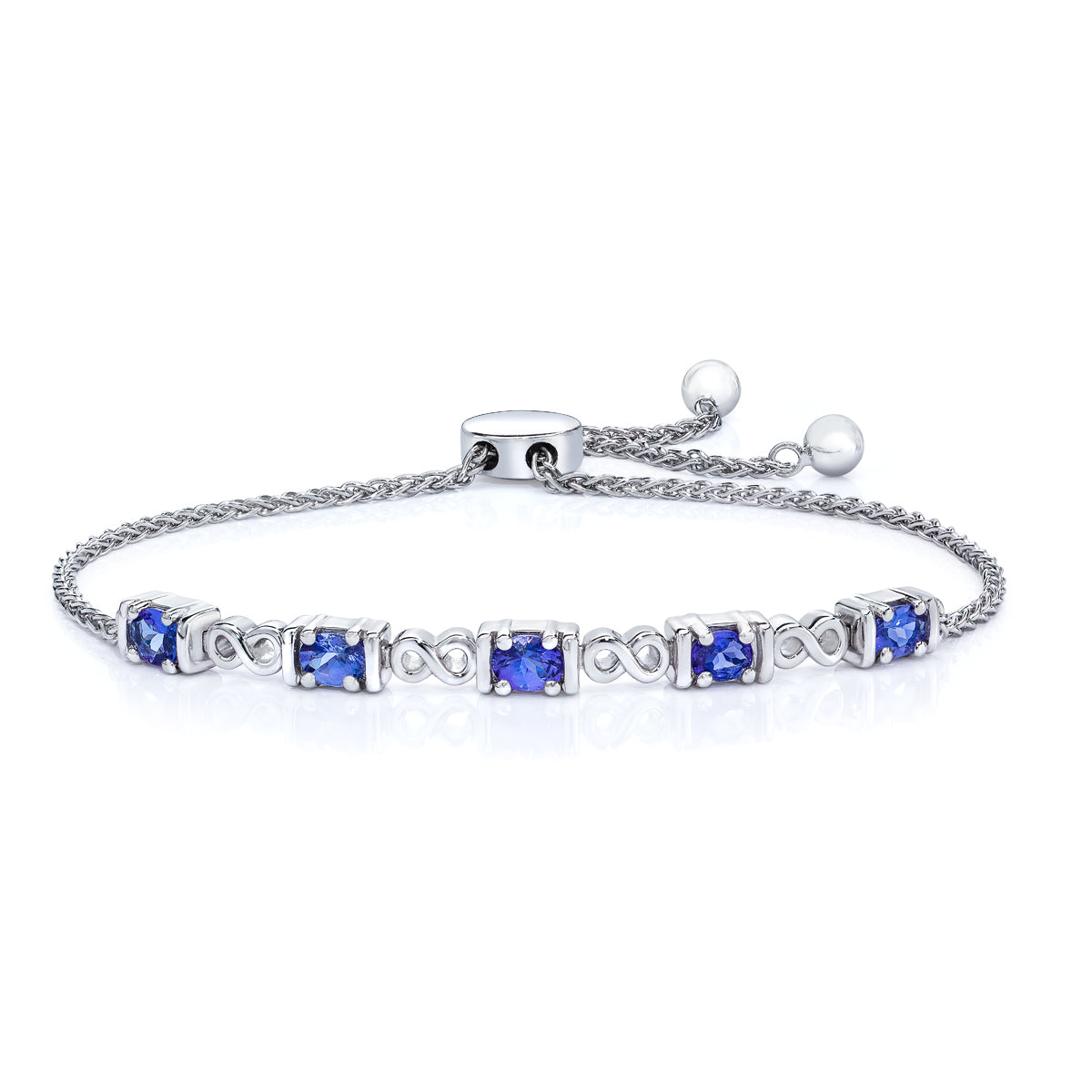 in white with diamonds gold bracelet tanzanite tw