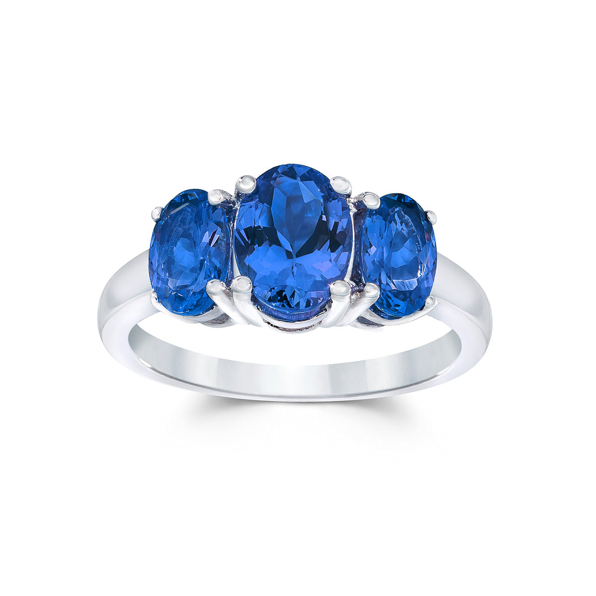 Three Stone Tanzanite Ring in Sterling Silver (2.50 ctw)