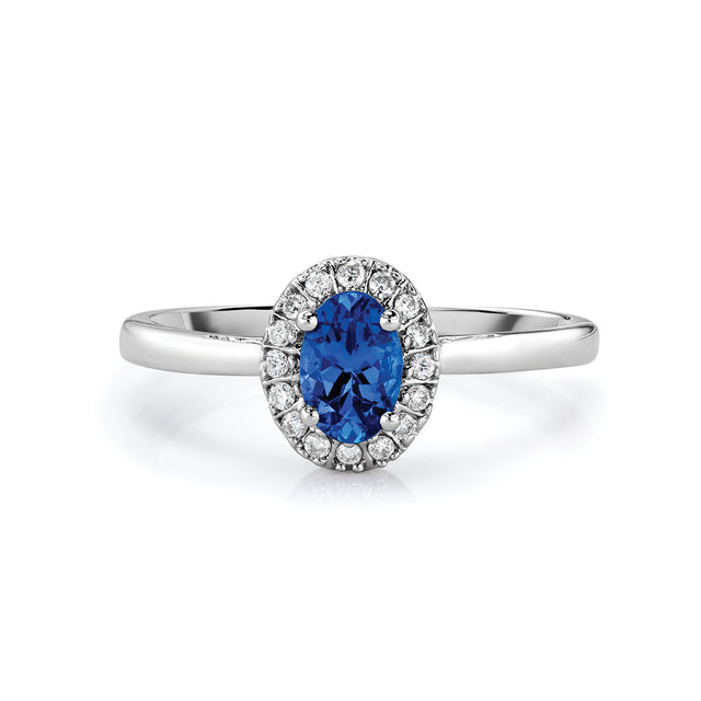 Tanzanite & Diamond Ring in Sterling Silver (.58 ctw)