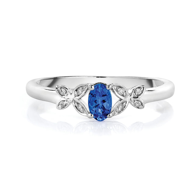 Tanzanite & Diamond Ring in Sterling Silver (.28 ctw)