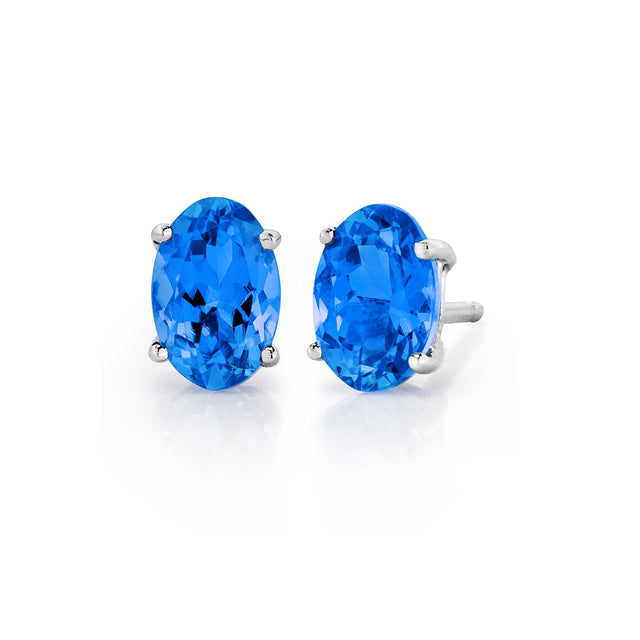 Tanzanite Stud Earrings in Sterling Silver (.90 ctw)