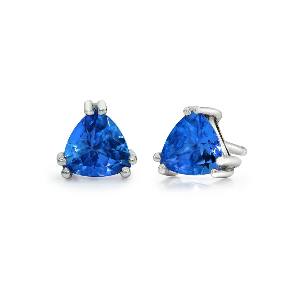 Trillion Tanzanite Earrings in Sterling Silver (.80 ctw)
