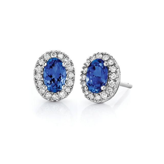 Tanzanite & Diamond Earrings in Sterling Silver (1.06 ctw)