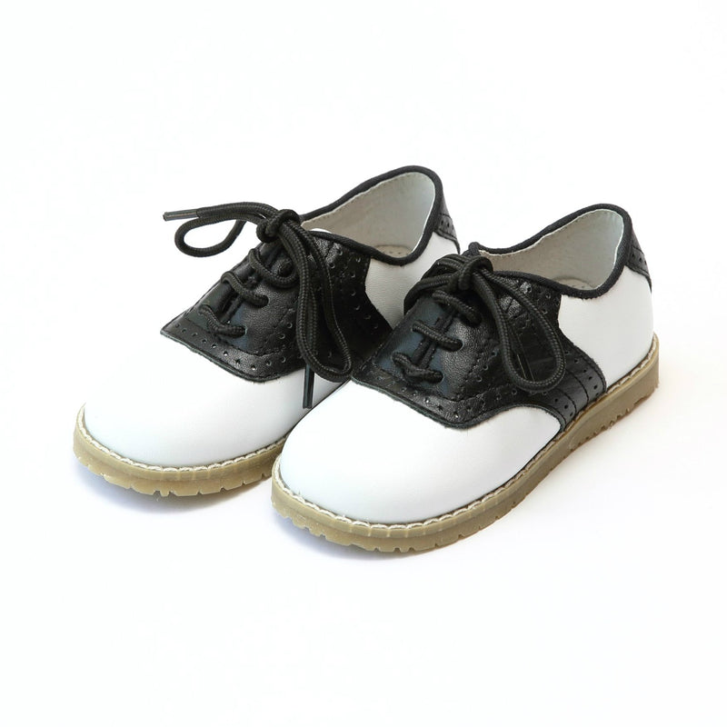 L'amour Luke Two Tone Leather Saddle Shoe - White with Black