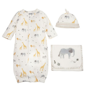 Safari Gown, Burp Cloth, & Hat
