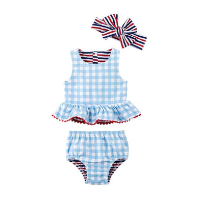 Reversible Gingham & Striped Swimsuit