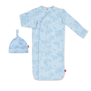 Blue Doeskin Modal Magnetic Sack Gown & Hat Set
