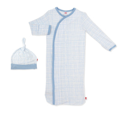 Greenwich Plaid Magnetic Gown & Hat Set
