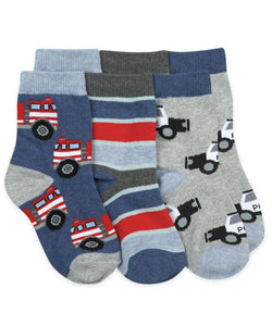 Rescue Vehicles Pattern Crew Socks 3 Pair Pack