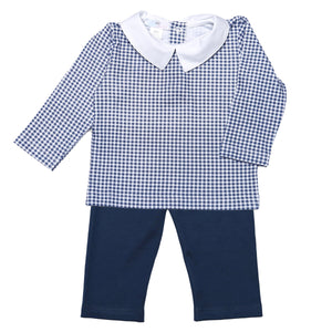 SOLID NAVY BLUE PANTS SET. WITH GINGHAM TEE