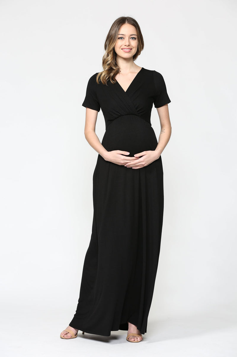 V-Neck Black Maternity Maxi Dress