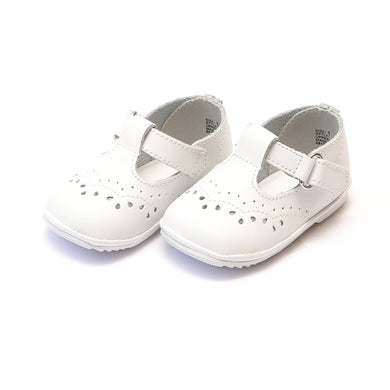 Angel Birdie White Leather T-Strap Stitched Mary Jane