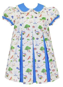Dress w/ Contrasting Pleats - Playground Print