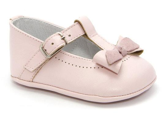 Patucos Infant Classic Leather Shoes w/ Lace - Pink