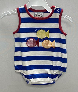 3 Fish Applique Boys Romper