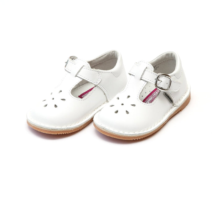 L'amour Joy Classic Leather Stitch Down T-Strap Mary Jane - White