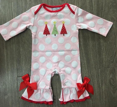 Oh Christmas Tree Girls Applique Romper