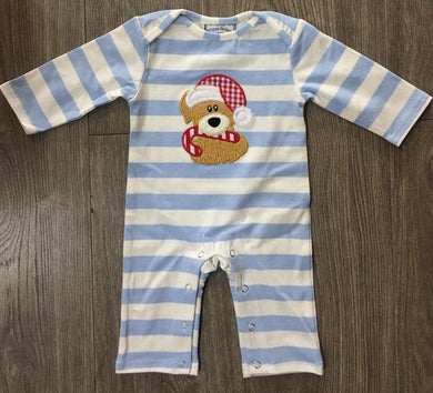 Christmas Bear Boys Applique Romper