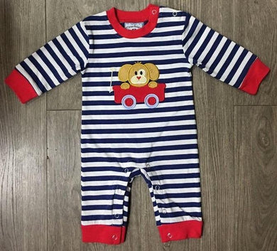 Puppy Ride Boys Applique Romper