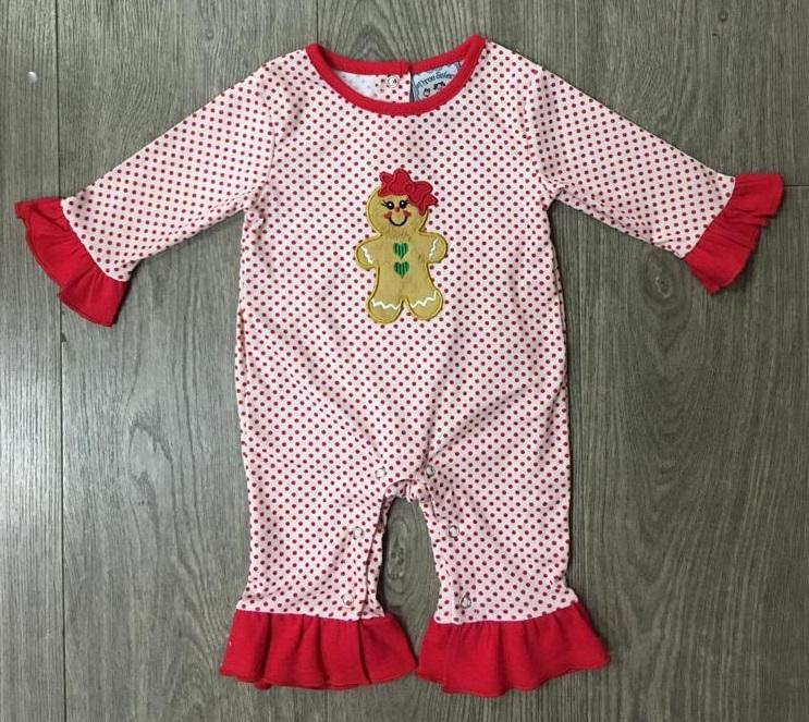Gingerbread Girls Applique Romper