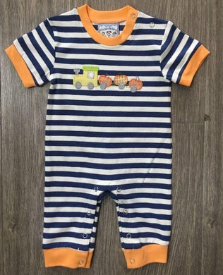 Pumpkin Train Applique Boys Romper