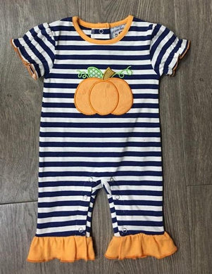 Pumpkin Applique Girls Romper