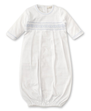 Kissy Kissy CLB Summer Sack W/Hand Smocking - White with Light Blue