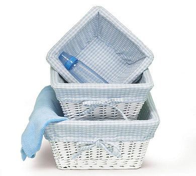 White Wicker Basket w/ Blue Gingham Liner