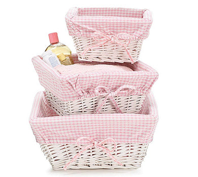 White Wicker Basket w/ Pink Gingham Liner