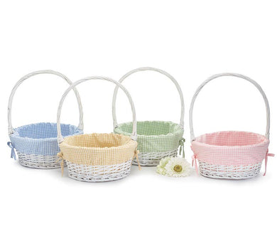 Gingham Lined Willow Easter Basket