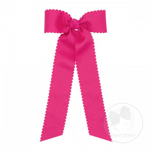 Medium Scalloped Edge Bow w/ Streamer Tails - Hot Pink