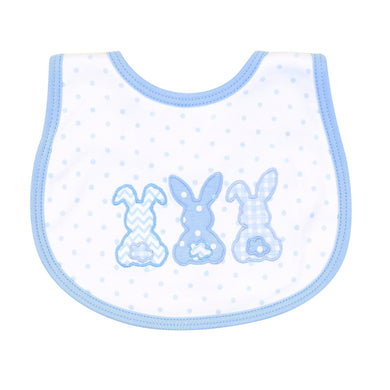Bunny Trio Applique BIb - Blue