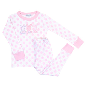 Bunny Trio Applique Long Pajama - Pink