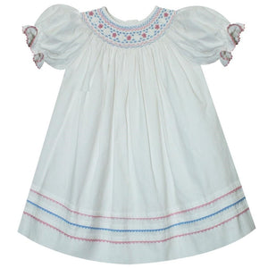Anne Smocked White Cord Dress