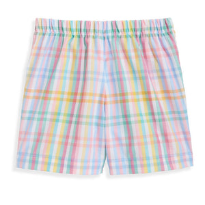bella bliss Printed Boy's Play Short - Meadow Check