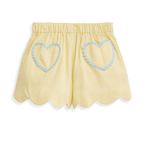 bella bliss Heart Pocket Short - Yellow Pique