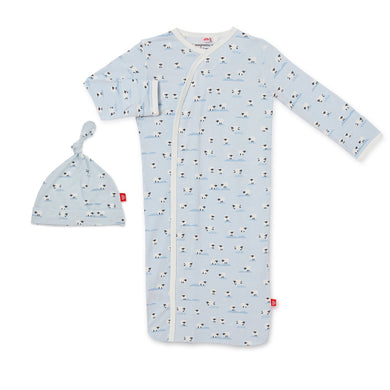 Baa Baa Baby Modal Magnetic Gown Set - Blue