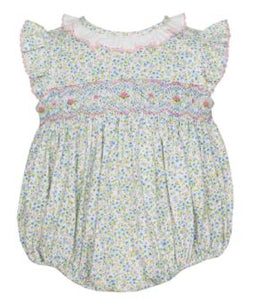 Bubble with Ruffle Collar - Blue & Pink Petite Fleurs Knit