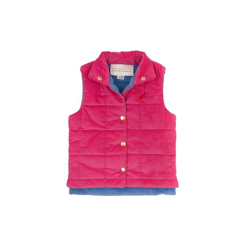 Corduroy Holly Vaughn Vest - Hamptons Hot Pink with Richmond Red