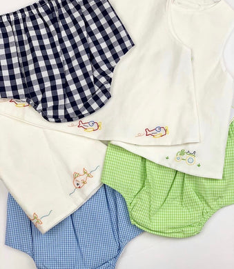 Blue Fish Diaper Set