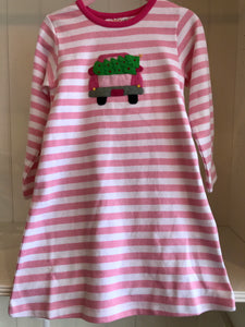 Long Sleeve Stripe A-Line Dress (Pickup Truck with Christmas Tree)