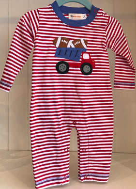 Long Sleeve Jersey Stripe Romper - Dump Truck with Footballs